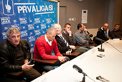Bojan Prasnikar, Darko Milanic, Branko Florjanic during press conference of 1st SNL PrvaLiga, on February 29, 2012 in Koper, Slovenia.  (Photo By Vid Ponikvar / Sportida.com)