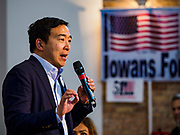 27 APRIL 2019 - STUART, IOWA: ANDREW YANG, candidate for the Democratic nomination for the US presidency, talks to Iowa voters at the Reaching Rural Voters Forum in Stuart. The forum was an outreach by Democrats in Iowa's 3rd Congressional District to mobilize Democratic voters statewide. Iowa saw one of the largest shifts from Democrats to Republicans in the 2016 Presidential election and Trump won the state by double digits. Republicans control the governor's office and both chambers of the Iowa legislature. Iowa traditionally hosts the the first selection event of the presidential election cycle. The Iowa Caucuses will be on Feb. 3, 2020.       PHOTO BY JACK KURTZ