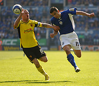 Photo: Steve Bond/Richard Lane Photography. Leicester City v Watford. Coca Cola Championship. 17/04/2010. Bruno Berner (R) and Jay DeMerit (L) chase down a long ball