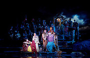 The Pearl Fishers <br /> music by Georges Bizet <br /> production by Penny Woolcock <br /> English National Opera, London Coliseum, London, Great Britain <br /> rehearsal <br /> 17th October 2016 <br /> <br /> <br /> Robert McPherson as Nadir <br /> <br /> Claudia Boyle as Leila <br /> <br /> James Creswell as Nourabad High Priest of Brahma <br /> <br /> <br /> Photograph by Elliott Franks <br /> Image licensed to Elliott Franks Photography Services