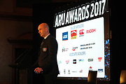 Auckland Rugby CEO Jarrod Bear speaks during the Auckland Rugby awards night held at Eden Park on the 25th of October 2017. <br /> Credit; Peter Meecham/ www.photosport.nz