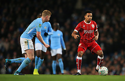 Korey Smith of Bristol City and Kevin De Bruyne of Manchester City - Mandatory by-line: Matt McNulty/JMP - 09/01/2018 - FOOTBALL - Etihad Stadium - Manchester, England - Manchester City v Bristol City - Carabao Cup Semi-Final First Leg