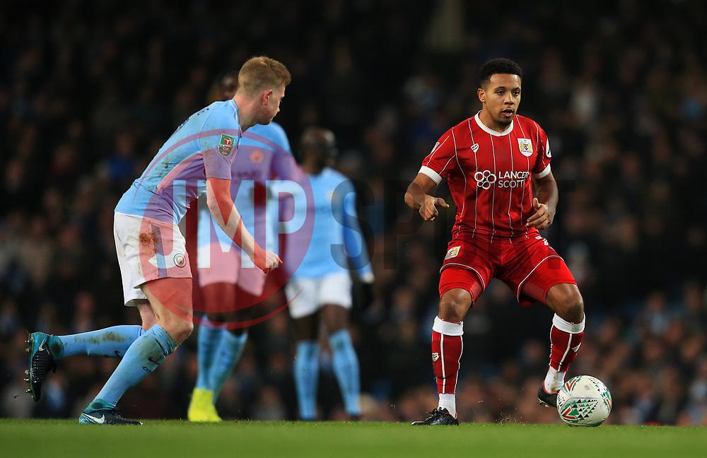 Korey Smith of Bristol City and Kevin De Bruyne of Manchester City - Mandatory by-line: Matt McNulty/JMP - 09/01/2018 - FOOTBALL - Etihad Stadium - Manchester, England - Manchester City v Bristol City - Carabao Cup Semi-Final First Leg