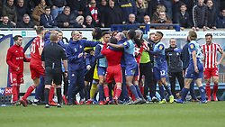 March 9, 2019 - High Wycombe, Buckinghamshire, United Kingdom - Players from both sides seperate a brawl during the Sky Bet League 1 match between Wycombe Wanderers and Sunderland at Adams Park, High Wycombe, England  on Saturday 9th March 2019. (Credit Image: © Mi News/NurPhoto via ZUMA Press)