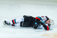 KELOWNA, BC - DECEMBER 30:  Matthew Wedman #20 of the Kelowna Rockets lies on the ice after a collision with a player of the Prince George Cougars at Prospera Place on December 30, 2019 in Kelowna, Canada. (Photo by Marissa Baecker/Shoot the Breeze)