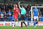 Yellow Card Tom Eaves  during the EFL Sky Bet League 1 match between Rochdale and Gillingham at Spotland, Rochdale, England on 23 September 2017. Photo by Daniel Youngs.