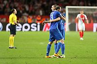 can - 02.05.2017 - Monaco - Champions League Semifinale -  Monaco-Juventus nella  foto: Giorgio Chiellini e Leonardo Bonucci esultano a fine partita