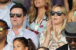 © Licensed to London News Pictures. 09/07/2018. London, UK. Declan Donnelly and wife Ali Astall sit on the centre court during the Wimbledon Tennis Championships 2018, at the All England Lawn Tennis and Croquet Club. Photo credit: Ray Tang/LNP