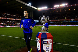 Leo Bonatini of Nottingham Forest walks past The Brian Clough Trophy on a Sky Bet plinth at The City ground ahead of Nottingham Forest v Derby County - Mandatory by-line: Robbie Stephenson/JMP - 25/02/2019 - FOOTBALL - The City Ground - Nottingham, England - Nottingham Forest v Derby County - Sky Bet Championship