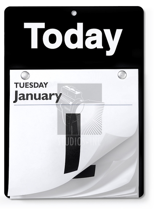 Tear-off day calendar shot from an orthographic view on white with clipping path
