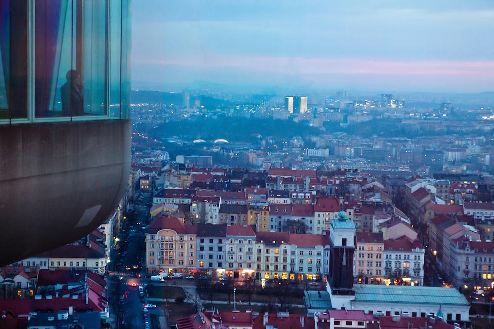 View from the Zizkov TV tower to the area around subway station Jiriho z Podebrad located in Prague Zizkov.
