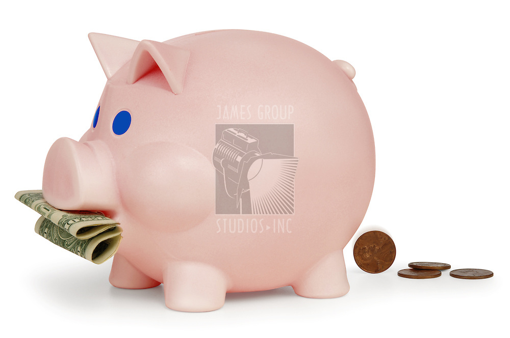 Piggy bank eating a dollar and turning it into pennies