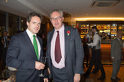 Left to right, HENRY DEEDES and WILLIAM CASH at the launch of BAR20 at Birleys, 20 Fenchurch Street, City of London on 10th November 2015.