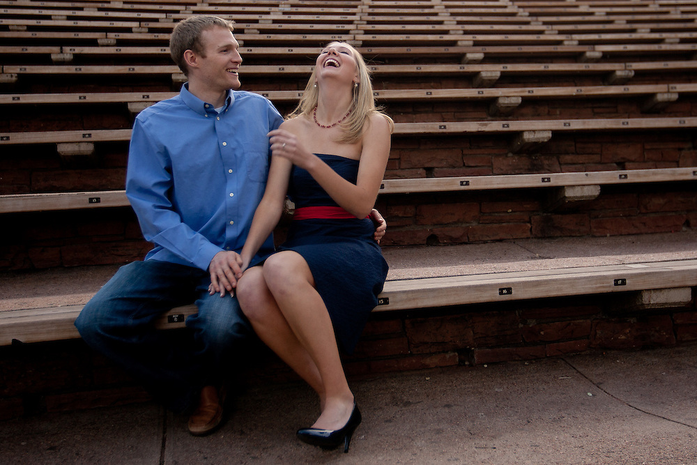 Holly Benson and Luke Johnson pose for a portrait to celebrate their engagement at Red Rocks State Park in Morrison, Wednesday, April 14, 2010. Photo by Justin Edmonds