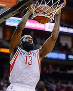 Nov 7, 2013; Houston, TX, USA; Houston Rockets shooting guard James Harden (13) dunks against the Los Angeles Lakers during the second quarter at Toyota Center. Mandatory Credit: Thomas Campbell-USA TODAY Sports