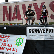 The band Probable Cause performs onstage at the Romneyville campsite during the Republican National Convention in Tampa, Fla. on Wednesday, August 29, 2012. (AP Photo/Alex Menendez)