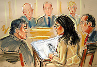 ©PRISCILLA COLEMAN-ITN 28.06.05.SUPPLIED BY PHOTONEWS SERVICE LTD.PIC SHOWS: COURT ARTIST IMPRESSION OF FARIA ALAM AT THE INDUSTRIAL TRIBUNAL IN LONDON WITH JEFFREY BACON, LAWYER FOR THE FA (LEFT). ALAM IS HOLDING A SUNDAY MAIL ARTICLE ABOUT THE WHOLE AFFAIR IN WHICH QUOTES WERE ATTRIBUTED TO ALAM. THE ARTICLE CLAIMED THAT IN INTERVIEW WITH THE PAPER LAST YEAR ALAM HAD NO PROBLEMS WITH DAVID DAVIES OR HIS CONDUCT. .FARIA ALAM IS SUING THE FOOTBALL ASSOCIATION FOR SEXUAL DISCRIMINATION. SEE STORY.ILLUSTRATION: PRISCILLA COLEMAN ITV NEWS.