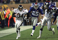 28 Jan 2001: Jermaine Lewis #84 of the Baltimore Ravens races down the sidelines for a 84 yard touchdown against the New York Giants during Super Bowl XXXV at Raymond James Stadium in Tampa, Florida. The Ravens defeated the Giants 34-7. DIGITAL IMAGE. Mandatory Credit: Tom Hauck/ALLSPORT