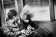 Chigwell Punk Girls on Tube, Chigwell, London, UK, 1980s.