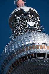 Close up of globe and transmission equipment at top of Television Tower at Alexanderplatz in Mitte Berlin