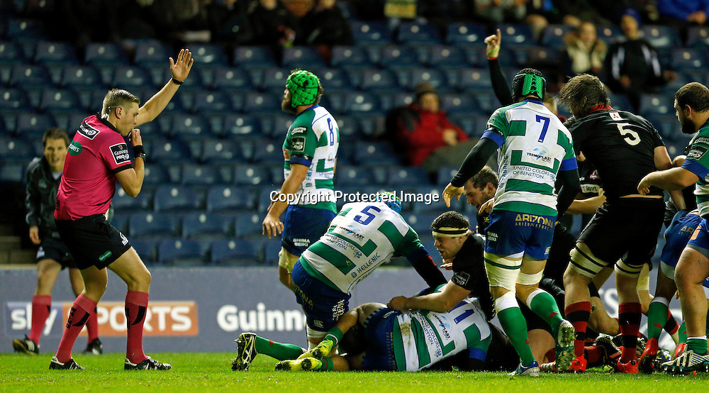 Guinness PRO12, BT Murrayfield, Scotland 19/12/2014<br /> Edinburgh vs Benetton Treviso <br /> Edinburgh's Mike Coman scores a try <br /> Mandatory Credit &copy;INPHO/Russell Cheyne