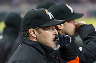 Manager Mike Redmond #11 of the Miami Marlins looks on in Game 2 of a split doubleheader against the Minnesota Twins on April 23, 2013 at Target Field in Minneapolis, Minnesota.  The Marlins defeated the Twins 8 to 5.  Photo: Ben Krause
