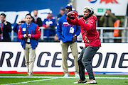 Wide receiver Odell Beckham Jr of the New York Giants warms up during the International Series match between New York Giants and Los Angeles Rams at Twickenham, Richmond, United Kingdom on 23 October 2016. Photo by Jason Brown.