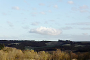 large cloud hanging over rural landscape France Languedoc Aude
