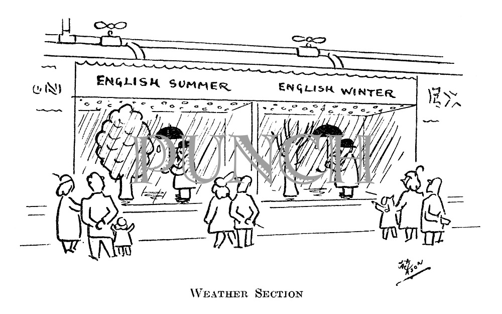(A clothing shop window with the same displays for English Summer and English Winter)