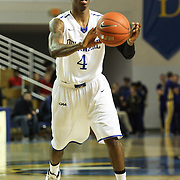 Delaware Guard Jarvis Threatt (4) passes the ball to a teammate in the first half of a NCAA regular season Colonial Athletic Association conference game between Delaware and Hofstra Wednesday, JAN 8, 2014 at The Bob Carpenter Sports Convocation Center in Newark Delaware.<br /> <br /> Threatt netted 20 points and reached the 1,000-point mark for his career.
