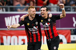 (L-R) Mike van Duinen of Excelsior, Ali Messaoud of Excelsior during the Dutch Eredivisie match between sbv Excelsior Rotterdam and Heracles Almelo at Van Donge & De Roo stadium on April 18, 2018 in Rotterdam, The Netherlands