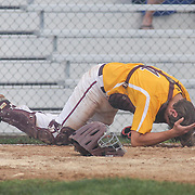 St. Elizabeth catcher Christian Strickland (14) gets hit my the ball in the mist of the second round of the DIAA baseball state tournament between #4 Caravel Academy and #15 St. Elizabeth Saturday May 27, 2017, at Caravel Academy in Bear Delaware.