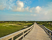 A walk along the boardwalk to the beach at the Fire Island National Seashore, Long Island, New York