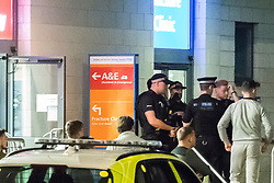 © Licensed to London News Pictures. 26/09/2018. Basildon, UK. Armed police at the scene at Basildon Hospital in Essex where a 19 year old male was take  after being shot in Tilbury earlier this evening. The male is being treated for a gunshot wound to the stomach and is currently in a serious condition. Photo Credit Simon Ford/LNP