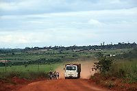 A truck that is used to carry soybeans rides on the road near Marcelândia, in Mato Grosso state, in Brazil on April 6, 2008. (Photo/Scott Dalton).