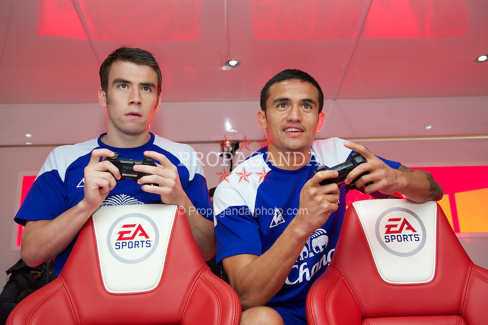 LIVERPOOL, ENGLAND - Tuesday, December 13, 2011: Everton's Seamus Coleman and Tim Cahill photographed during an EA Sports FIFA 2012 event at the club's Finch Farm training complex. (Pic by David Rawcliffe/Propaganda)
