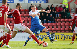 Peterborough United's Marcus Maddison closes down Swindon Town's Jordan Turnbull - Photo mandatory by-line: Joe Dent/JMP - Mobile: 07966 386802 - 11/04/2015 - SPORT - Football - Swindon - County Ground - Swindon Town v Peterborough United - Sky Bet League One