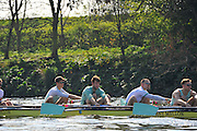 London, UK,  2014 Varsity, Annual Tideway Week. CUBC, Cambridge University Boat Club, Blue Boat, during training outing, Matthew JACKSON (right), Helge GRUETJEN (centre right), Steve DUDEK (centre left), Ivo DAWKINS (left). 09:58:31  Tuesday  01/04/2014  : [Mandatory Credit Intersport Images]