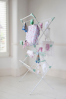 Clothes on laundry airer London