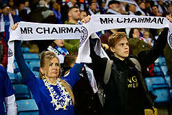 "LEICESTER, ENGLAND - Saturday, November 10, 2018: Leicester City supporters hold up scarves ""Mr Chairman"" as the club pays tribute to chairman Vichai Srivaddhanaprabha, who died in a helicopter crash on Oct 27, during the FA Premier League match between Leicester City FC and Burnley FC at the King Power Stadium. (Pic by David Rawcliffe/Propaganda)"