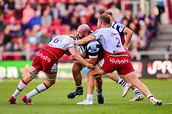 Joe Latta of Bristol Bears is tackled by Jamie Gibson of Northampton Saints and Dylan Hartley of Northampton Saints - Mandatory by-line: Ryan Hiscott/JMP - 29/09/2018 - RUGBY - Ashton Gate Stadium - Bristol, England - Bristol Bears v Northampton Saints - Gallagher Premiership Rugby