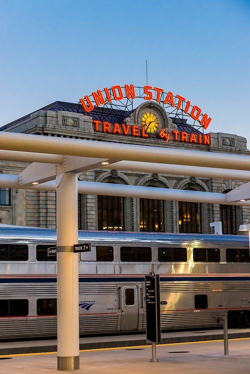 The California Zephyr en route from San Francisco to Chicago, at the newly renovated Denver Union Station, Downtown Denver, Colorado USA.