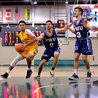 3rd year guard, Kameron Vales (3) of the Regina Cougars in action during the Regina Cougars vs Lethbridge game on November 2 at University of Regina. Credit Matte Black Photos/©Arthur Images 2018