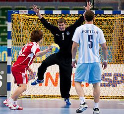14.01.2011, Scandinavium, Göteborg, SWE, IHF Handball Weltmeisterschaft 2011, Herren, Argentinien vs Korea, im Bild, //  Korea 3 Sim Jae Bok scores on penalty // during the IHF 2011 World Men's Handball Championship match Argentinia vs Korea at Scandinavium in Gothenburg. EXPA Pictures © 2011, PhotoCredit: EXPA/ Skycam/ Per Friske ++++++ ATTENTION - OUT OF SWEDEN/SWE +++++