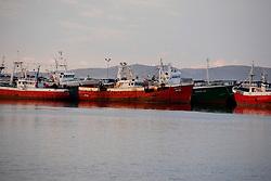 SPAIN GALICIA OZA 23AUG11 - Abandoned fishing vessels, mostly registered in the UK lie moored up in the port of Oza near La Coruna in Galicia, Spain.....jre/Photo by Jiri Rezac....© Jiri Rezac 2011