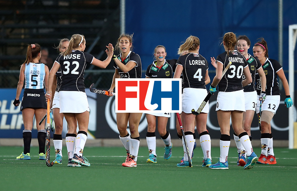 JOHANNESBURG, SOUTH AFRICA - JULY 20:  Germany players celebrate their secon goal during the semi final match between Germany and Argentina at Wits University on July 20, 2017 in Johannesburg, South Africa.  (Photo by Jan Kruger/Getty Images for FIH)