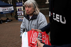 UK ENGLAND LONDON CROYDON 16APR16 - Volunteer campaigner Kathleen Garner at the stall of the Vote Leave campaign on the Croydon high street in south London.<br /> <br /> jre/Photo by Jiri Rezac<br /> <br /> &copy; Jiri Rezac 2016
