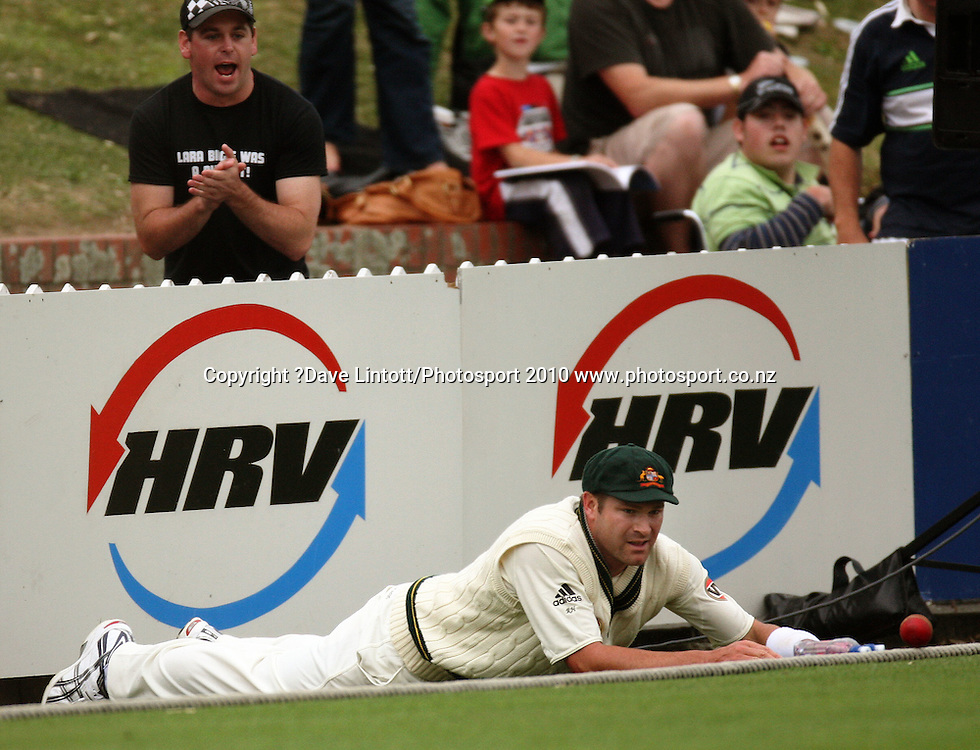 Australia's Ryan Harris watches as the ball bounces over the boundary rope.<br /> 1st cricket test match - New Zealand Black Caps v Australia, day two at the Basin Reserve, Wellington.Saturday, 20 March 2010. Photo: Dave Lintott/PHOTOSPORT