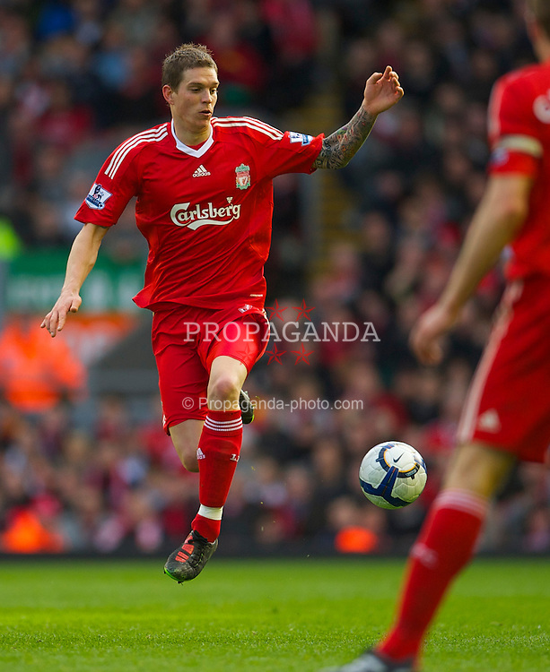 LIVERPOOL, ENGLAND - Sunday, March 28, 2010: Liverpool's Daniel Agger in action against Sunderland during the Premiership match at Anfield. (Photo by: David Rawcliffe/Propaganda)