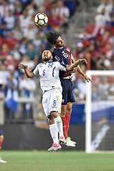 July 7, 2017 - Harrison, New Jersey, U.S - Costa Rica midfielder BRYAN RUIZ (10) and Honduras midfielder ALFREDO MEJIA (8) in action during CONCACAF Gold Cup 2017 at Red Bull Arena in Harrison New Jersey Costa Rica defeats Honduras 1 to 0. (Credit Image: © Brooks Von Arx via ZUMA Wire)